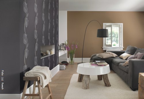 Wandfarbe Braun- 31 Wohnzimmer Ideen. Wände Streichen - Ideen Für ... Wohnzimmer Grau Beige Grun
