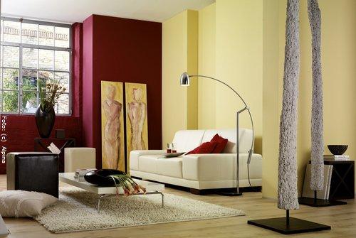 wohnzimmer ausmalen muster:Wandfarben in Gelb und Orange wirken ...